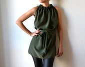 Silk tunic dress. Long top. Ruffle high neck. Olive green.
