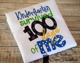 Kindergarten survived 100 days of Me, 100 Days of School Shirt - 100 Days Smarter - School Shirt - Boys or Girls 100th day of school
