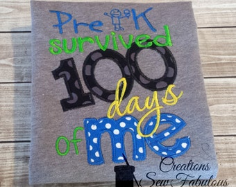 Pre-K survived 100 days of Me, 100 Days of School Shirt - 100 Days Smarter - School Shirt - Boys or Girls 100th day of school