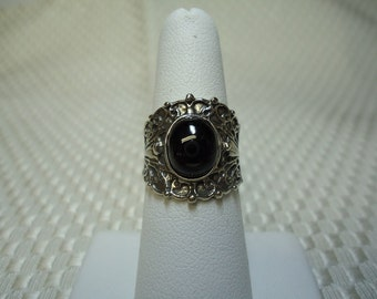Cabochon Oval Black Sapphire Ring in Sterling Silver
