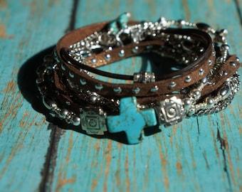 Boho Country Western Silver ~ Leather Wrap Bracelet