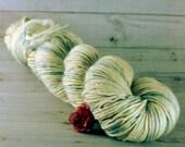 Snowflake Hand Dyed Yarn, DK alpaca silk yarn, light gray yarn