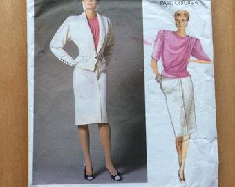 Vogue Emanuel Ungaro Suit Pattern, Vogue Paris Original Pattern, Vogue 1766, Uncut, Size 10, Very Chic 1980s