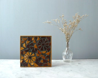 Vintage mosaic wood painting. Handmade wooden mosaic picture