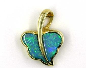 Vintage 18K Gold Opal Doublet Leaf Shaped Pendant