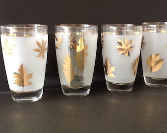 Mid century Drinking glasses - frosted glass and gold leaf pattern - barware - Glassware