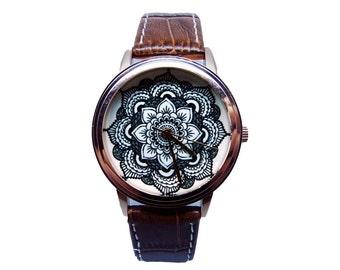 Mandala Watch, Women's Genuine Leather Watch, Mandala Design Watch