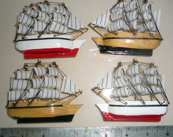 Four Model Ship Magnets