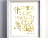 Valentines day gift for her Harry Potter Inspired Nursery Wall Art Harry potter poster quote Albus Dumbledore print Happiness Can Be Found