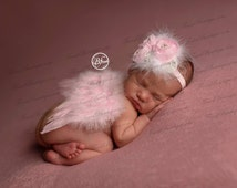 Mini Newborn BABY ANGEL WINGS, Headband Pink White -Photo Prop . Baby Girl Headbands .. Angel Wings .. Baby Bow Headband .. Newborn Headband