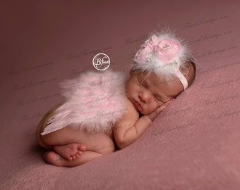 Mini Newborn BABY ANGEL WINGS, Headband Pink White -Photo Prop . Newborn Wings .. Angel Wings .. Baby Wings .. Newborn Headband