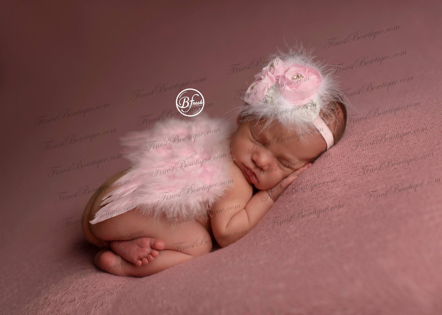 Mini Newborn Baby Angel Wings Headband Pink White Photo Prop