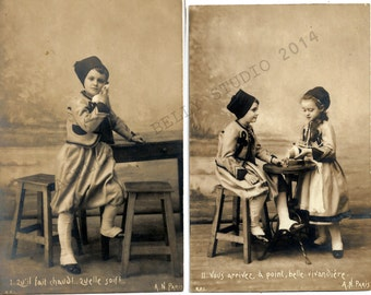 Antique French RPPC Series  Set of 8 Romantic Post Cards  Children  Tells a Story  Captioned