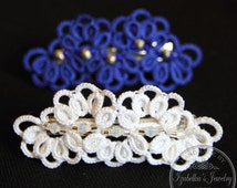 SALE! Hair-clip decorated with hand tatted lace (Ankars)