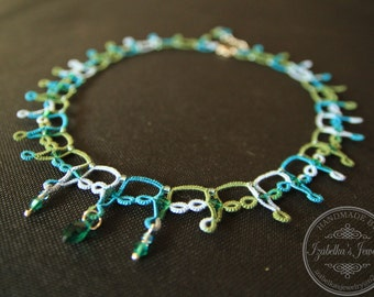 Lace tatted necklace with crystal beads