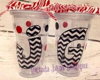 Chevron Initial Acrylic Cup with Straw - 20 oz.