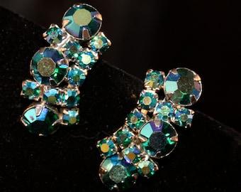 Vintage earrings aquamarine rhinestone