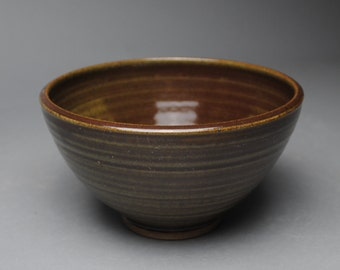 Clay Bowl Serving Olive Green and Cranberry A79