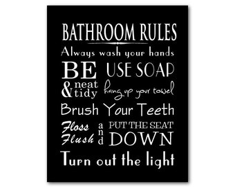 Bathroom Wall Art - Word Art Print - Bathroom Rules - Typography Art - Kids Bathroom Art - Use soap Flush floss Brush your teeth