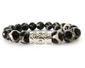 Black and White Tibetan Agate Bracelet - Women's Bracelet - Beaded Stretch Bracelet - Women's Jewelry - Statement Bracelet - W4635