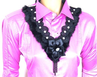 FREE SHIPPING Avant garde Black Lace Choker Necklace- Woman Applique Lace Jewelry