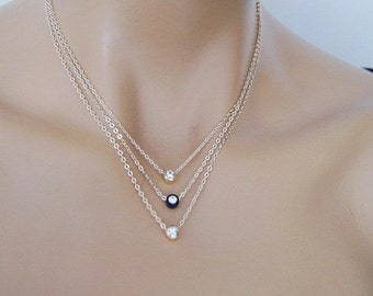Triple Swarovski Crystal Gold Plated Necklace, Statement Necklace, Pendant necklace, Bridal Wedding Jewelry, Bridesmaids Gift