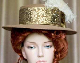 Steampunk Hat Ladies Women Tan Felt Gold Ribbon Bow