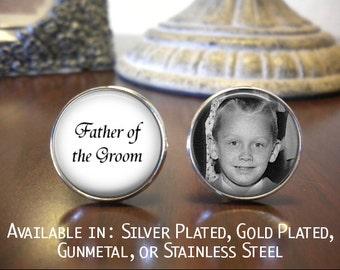 SALE! Father of the Groom Cufflinks - Personalized Cufflinks - Photo Cufflinks - Wedding Jewelry