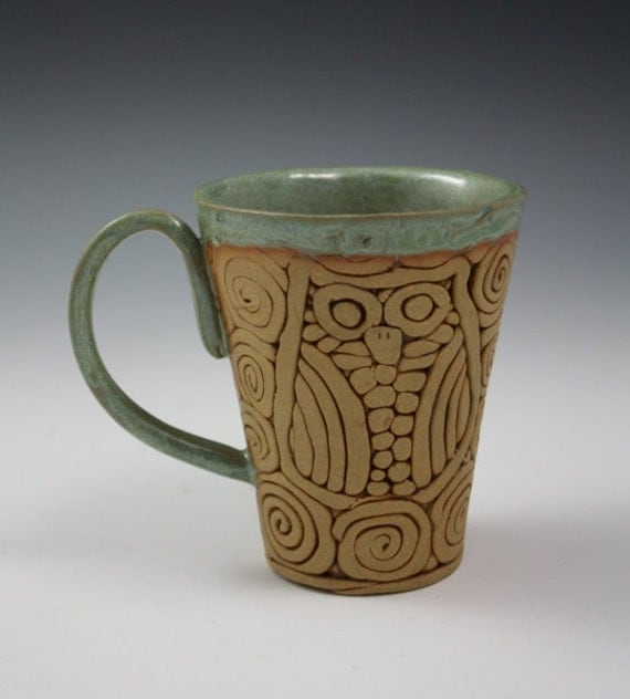 Items similar to Coil-Built Pottery Mug With Owl Image ...