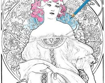 alphonse mucha art nouveau vintage printable coloring pages