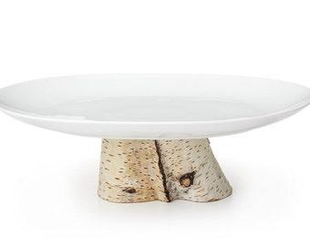 Birch Pedestal Serving Platter