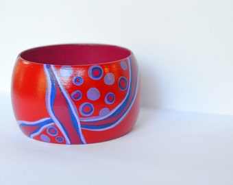 Bold Vibrant Red Hand Painted Bangle
