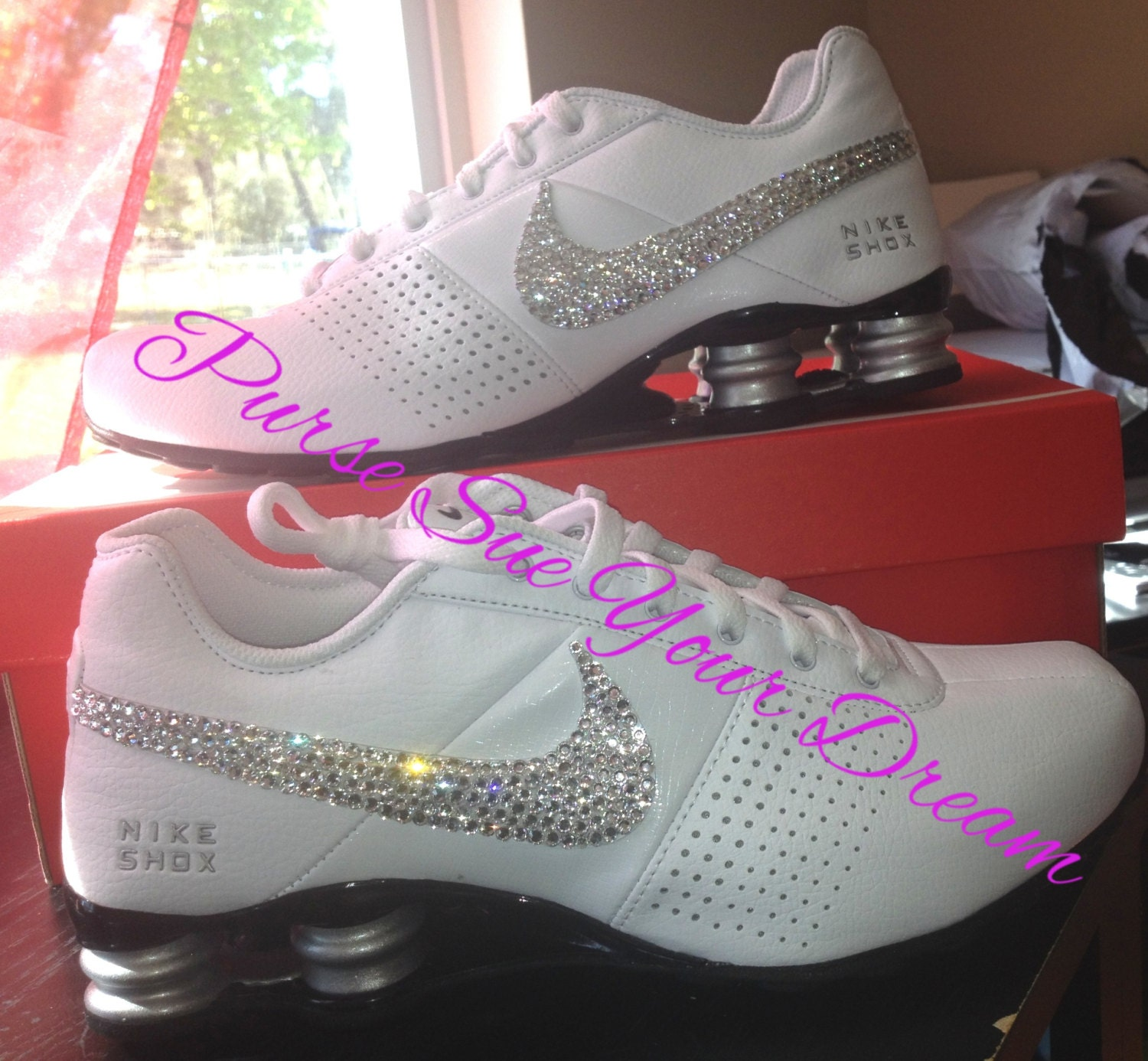 HKFYG Lee Shau Kee College - Womens White Nike Shox With Glitter Swoosh 52f4809b0