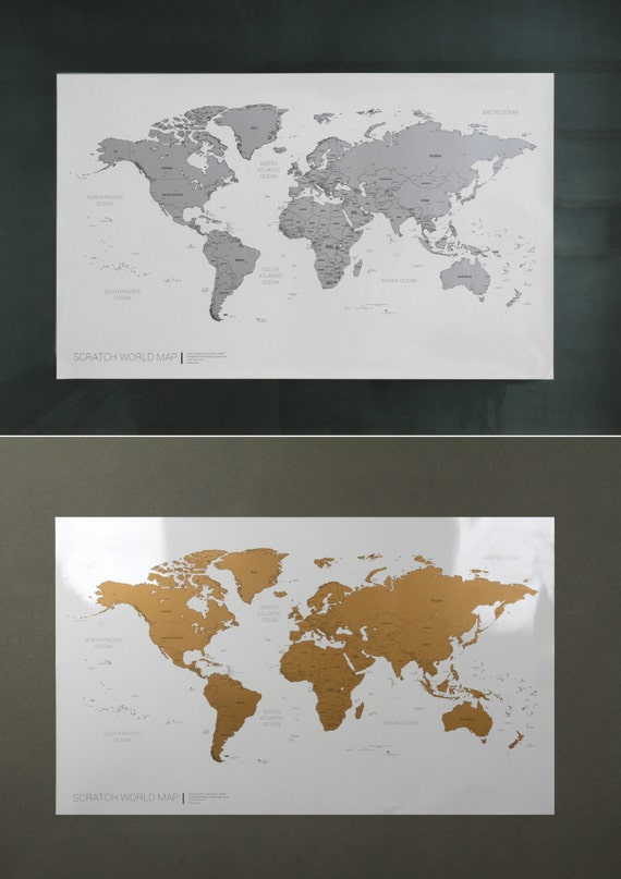 scratch off world map poster silver gold from glassnam on etsy studio. Black Bedroom Furniture Sets. Home Design Ideas