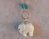Hand Carved Elephant with Carnelian or Turquoise on a  30 inch 14 K Gold Filled Chain