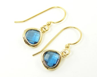 Tiny Blue Zircon Drop Earrings Small Dainty Minimalist Everyday Jewelry  BJ1-3