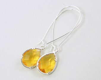 Amber Long Drop Earrings with Silver Frame, Deep Yellow Teardrop with Long Kidney Wire, Faceted Stone Silver Dangle Earrings |AM1-5