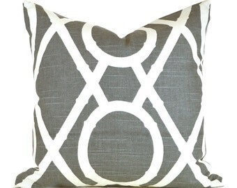 Pillow Covers ANY SIZE Decorative Pillow Cover Grey Pillow Robert Allen Lattice Bamboo Greystone