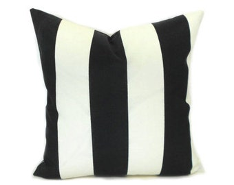 "Indoor Outdoor Black and Ivory Pillow Covers ANY SIZE Decorative Pillows 3"" Black Stripe Premier Prints Vertical Outdoor Black and Ivory"