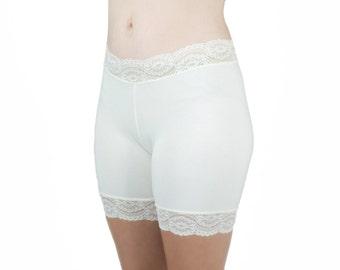 Soft Cotton Biker Shorts Ivory Lace Bridal Underwear