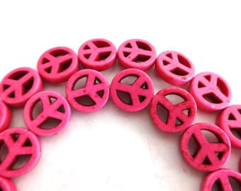10 mm Pink Peace Sign Turquoise, Howlite, Gemstone Beads