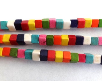 4 x 4 Colorful Turquoise, Howlite, Gemstone Cube Beads