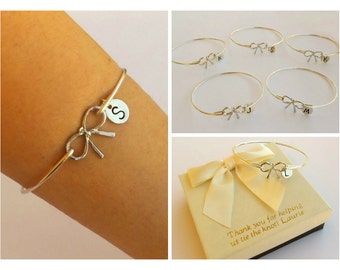 Free Shipping Set of 5 bow bangles for bridesmaids, bridesmaids bracelets, bow bangles, personalized bangles.