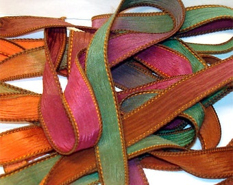 Cornacoppia  42 inch silk ribbons, 5 pack, By Color Kissed Singles