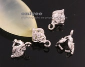 4Pcs-11mmX6mmRhodium Plated Brass With cubic Pinch Bail,peg for pendant,earring (K776S)