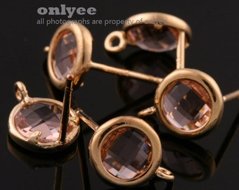 2pcs/1 pair-9mmX7mmGold plated faceted Round glass post earrings-Peach(M355G-C)
