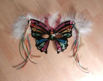 Mardi Gras Multi-colored Butterfly Fairy mask