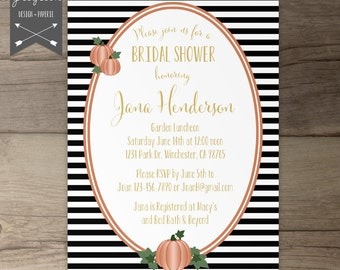 Fall Bridal Shower Invites • Black White Gold Orange • Invitations  • Stripes and polka dots and pumpkins • printable