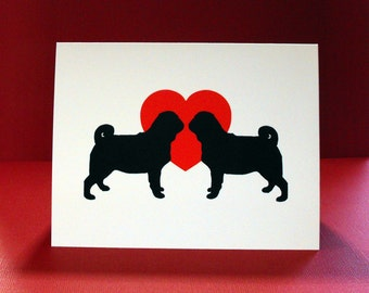 Pug Card, Anniversary Card, Pug Love Single Greeting Card, Pug Valentine's Day Card, Engagement Card,