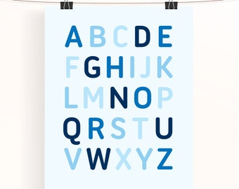 Blue alphabet poster - baby blue nursery print - baby boy nursery art - typography poster - kids wall art - baby shower gift